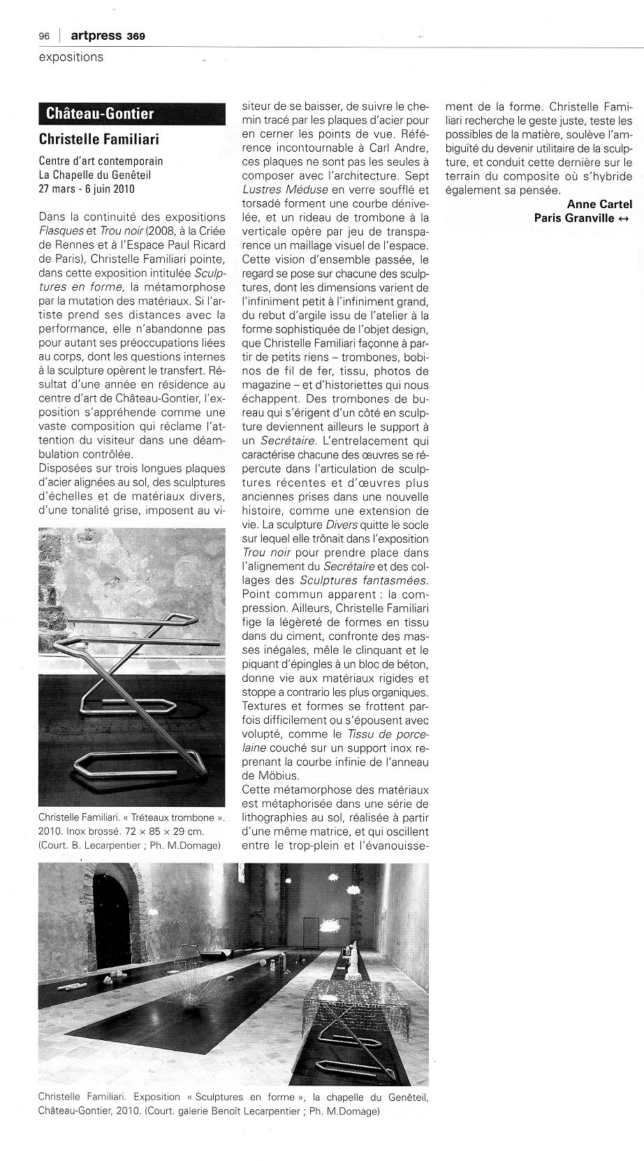 Sculptures en forme, anne cartel, artpress n°369, juillet-août 2010